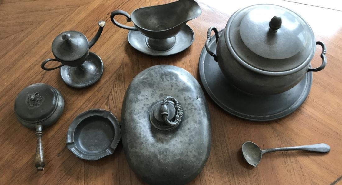 Collection of Antique & Vintage Pewter Items