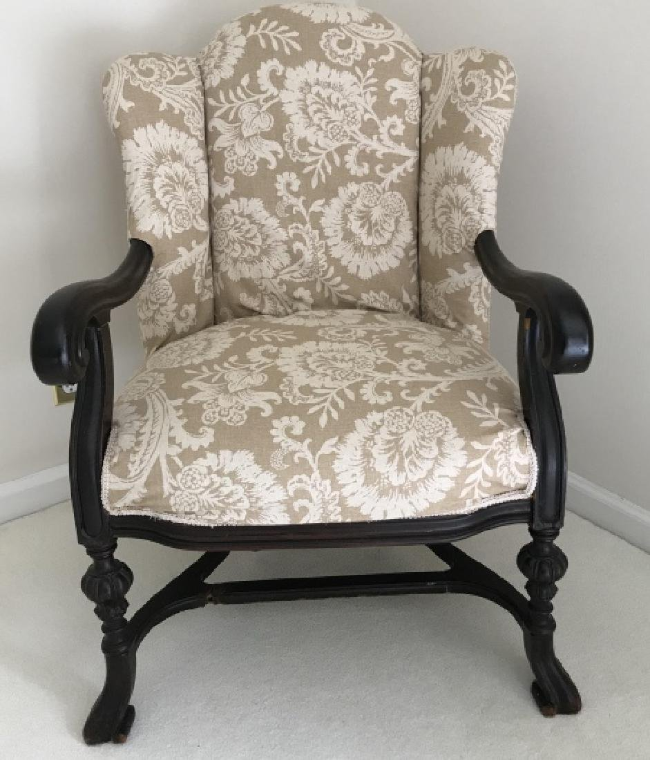 Antique Mahogany Tone Carved Frame Armchair