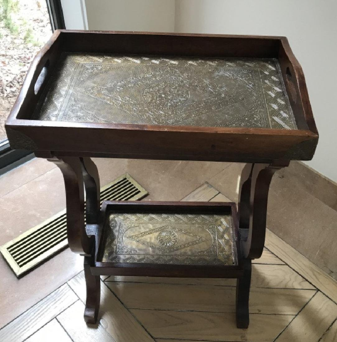 End Table / Accent Table w Stamped Brass Plaques