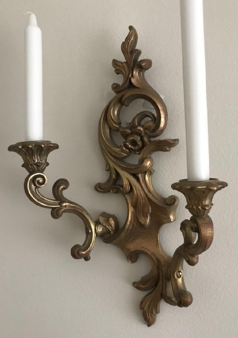 Pair French Rococo Style Candle Wall Sconces