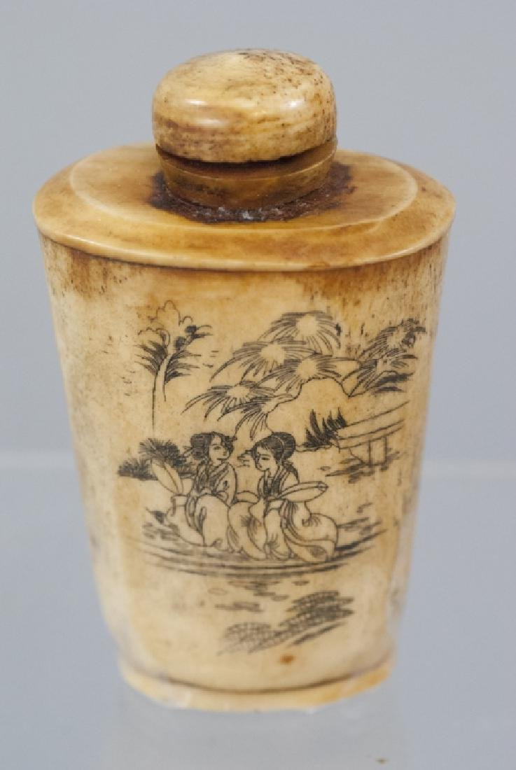 Chinese Carved Ox Bone Tea Caddy / Snuff Bottle