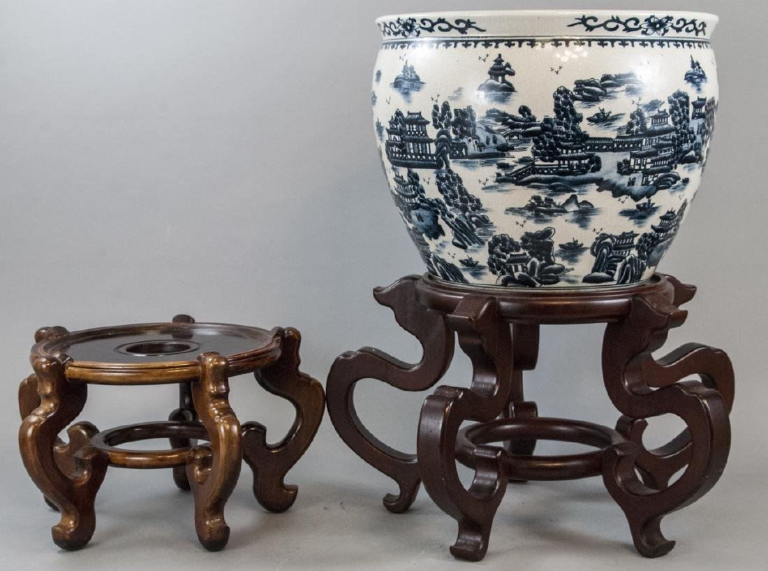 Chinese Porcelain Gold Fish Bowl & Two Stands