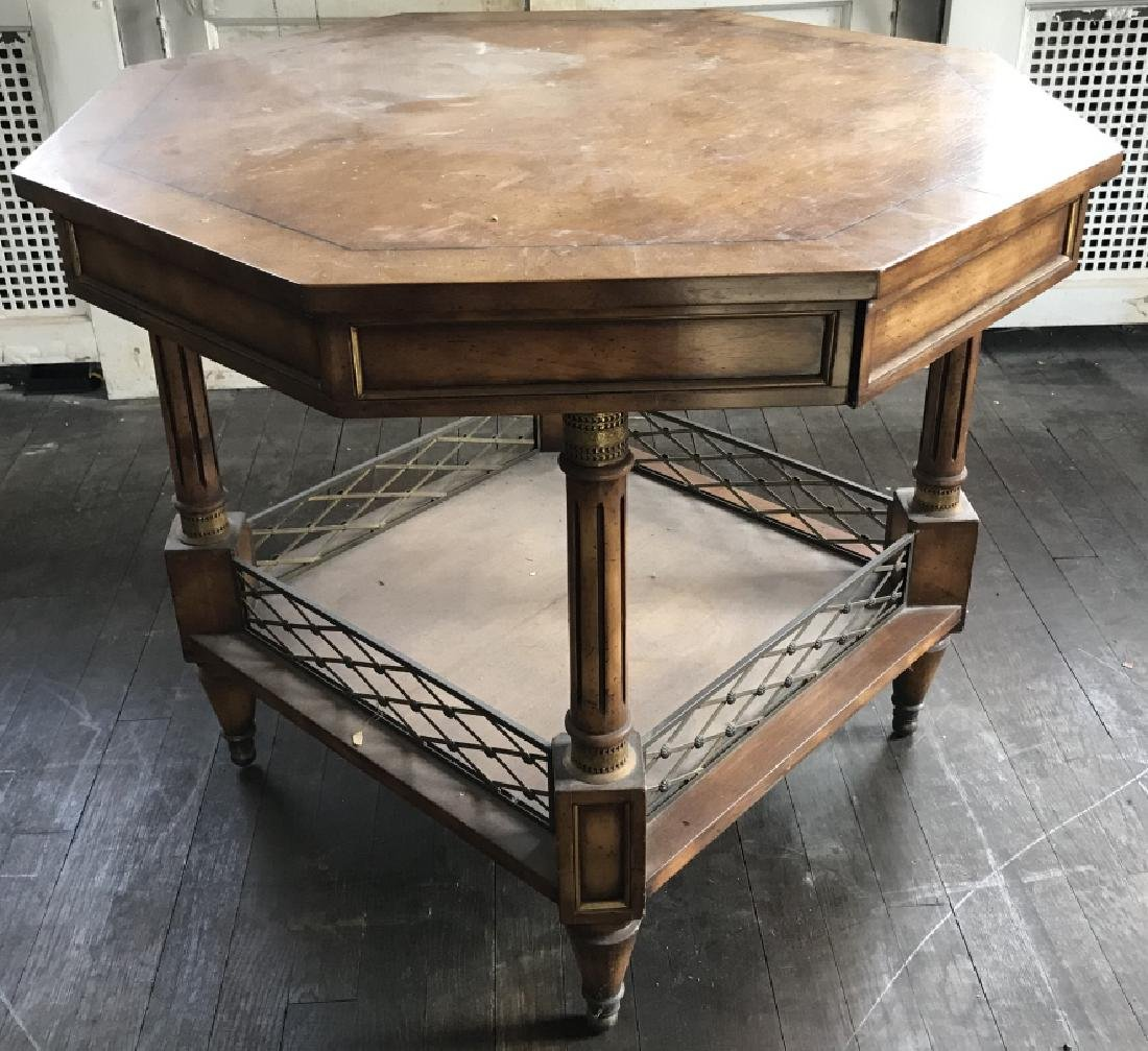End Table w Banded Top & Brass Gallery Shelf