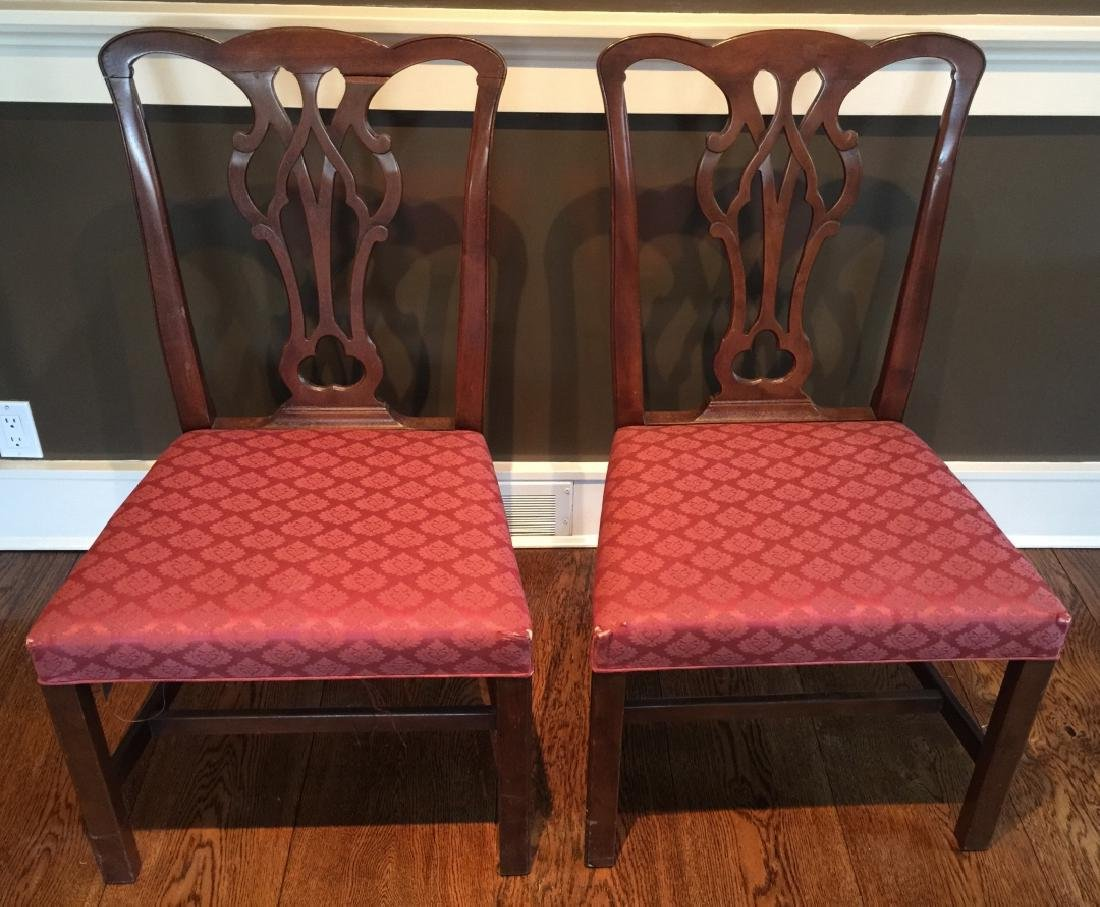 Pair English Chippendale Style Carved Side Chairs