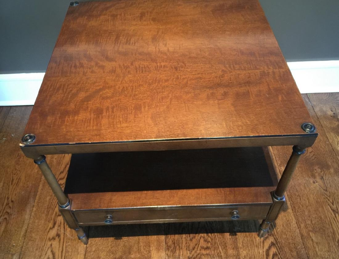 Burl Wood Two Tier Coffee Table w Drawer