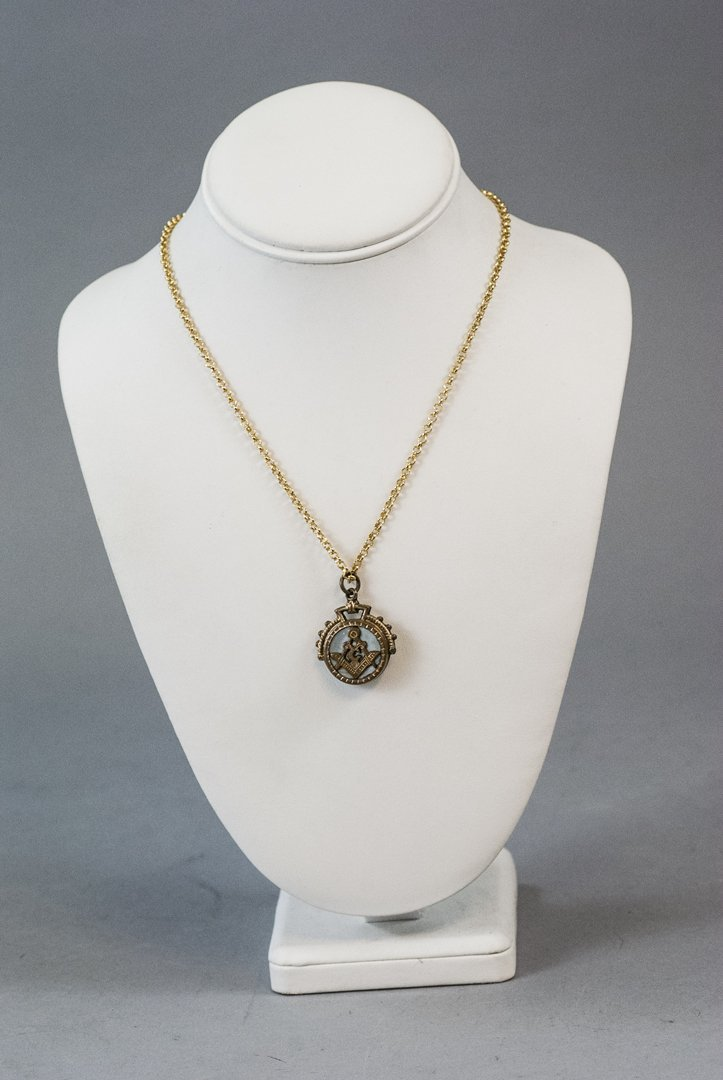 Antique Fraternal Masonic Pendant on Rolo Chain