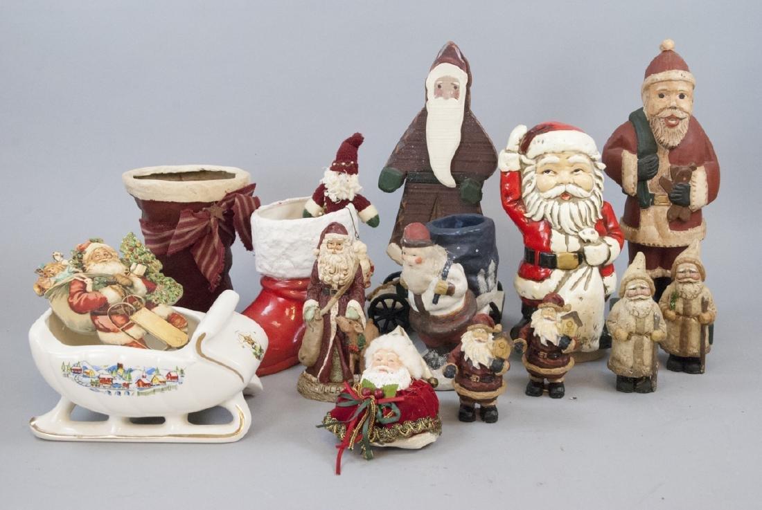 Lot of Vintage Christmas Santa Statues