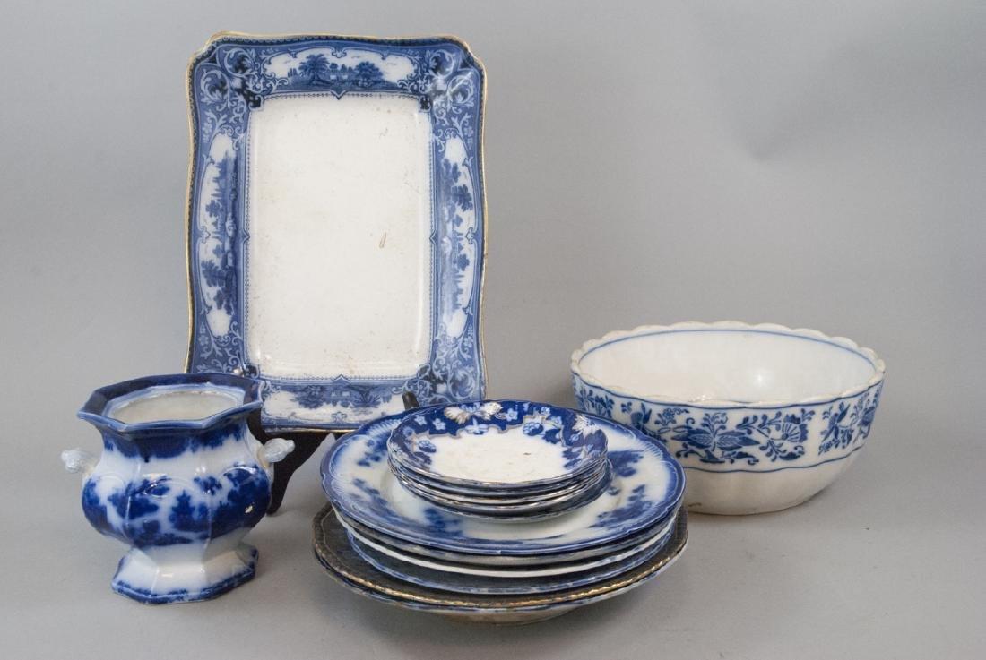 Lot of Flow Blue & White Antique Porcelain