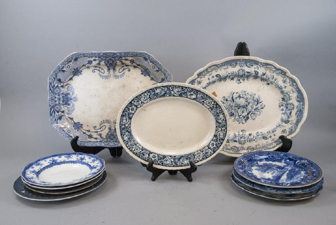 Lot of Antique Blue & White Transfer Ware