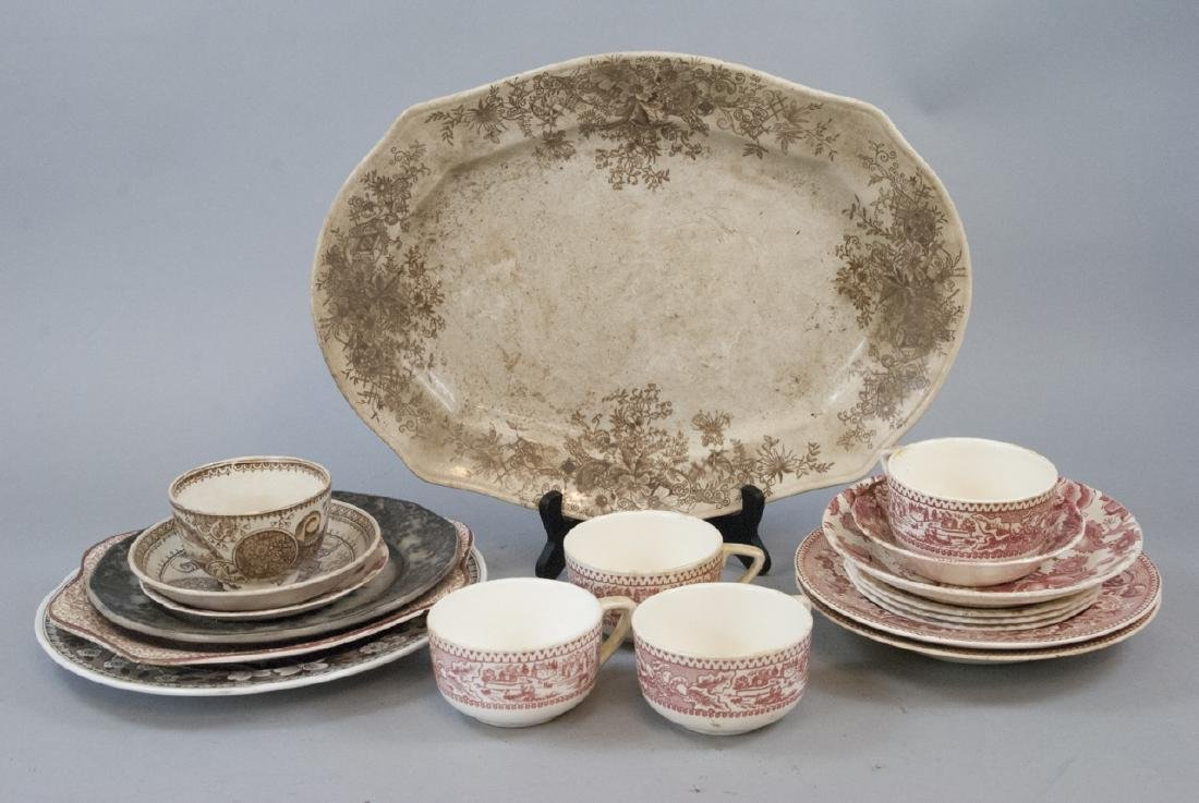 Lot of  Antique Transfer Ware in Red, Brown, Black