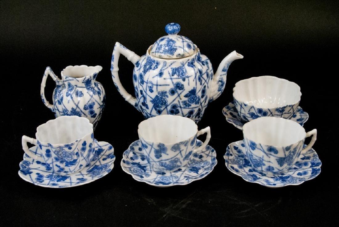 Antique Bone China Blue & White Tea Set
