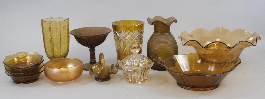 Lot Of Vintage & Antique Amber Glass Items