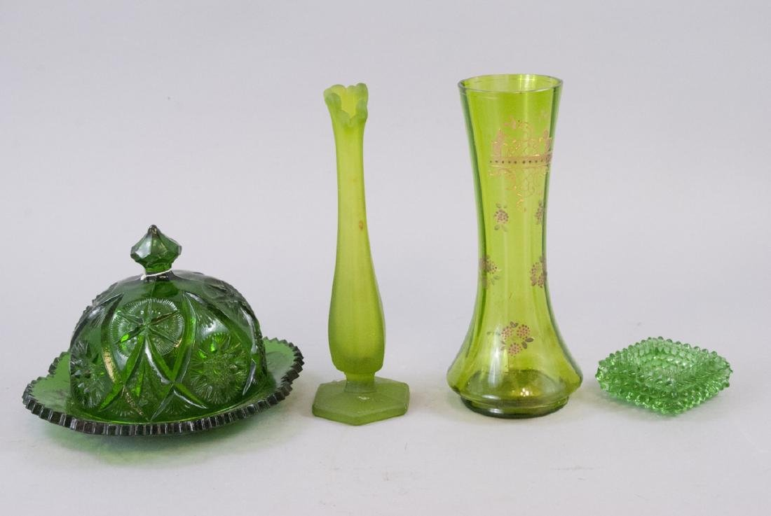 Lot Of Vintage & Antique Green Art Glass Items