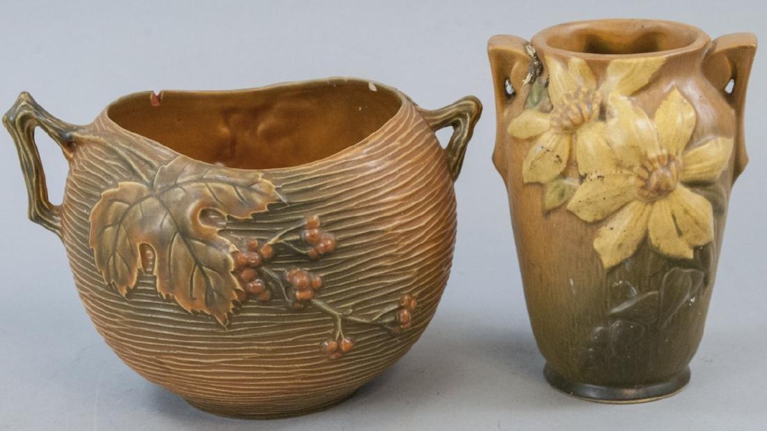 Vintage Roseville Pottery Vase & Bowl