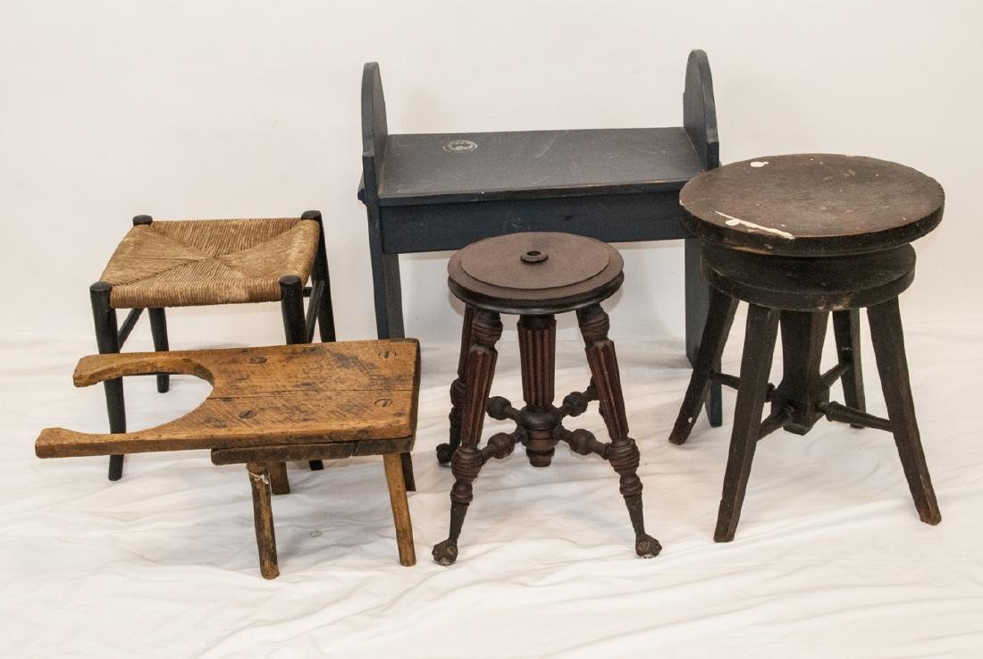 Antique Bench Lot, Ball & Claw Piano Stool Base