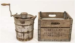 Antique Shepard's Lighting Freezer & Milk Crate