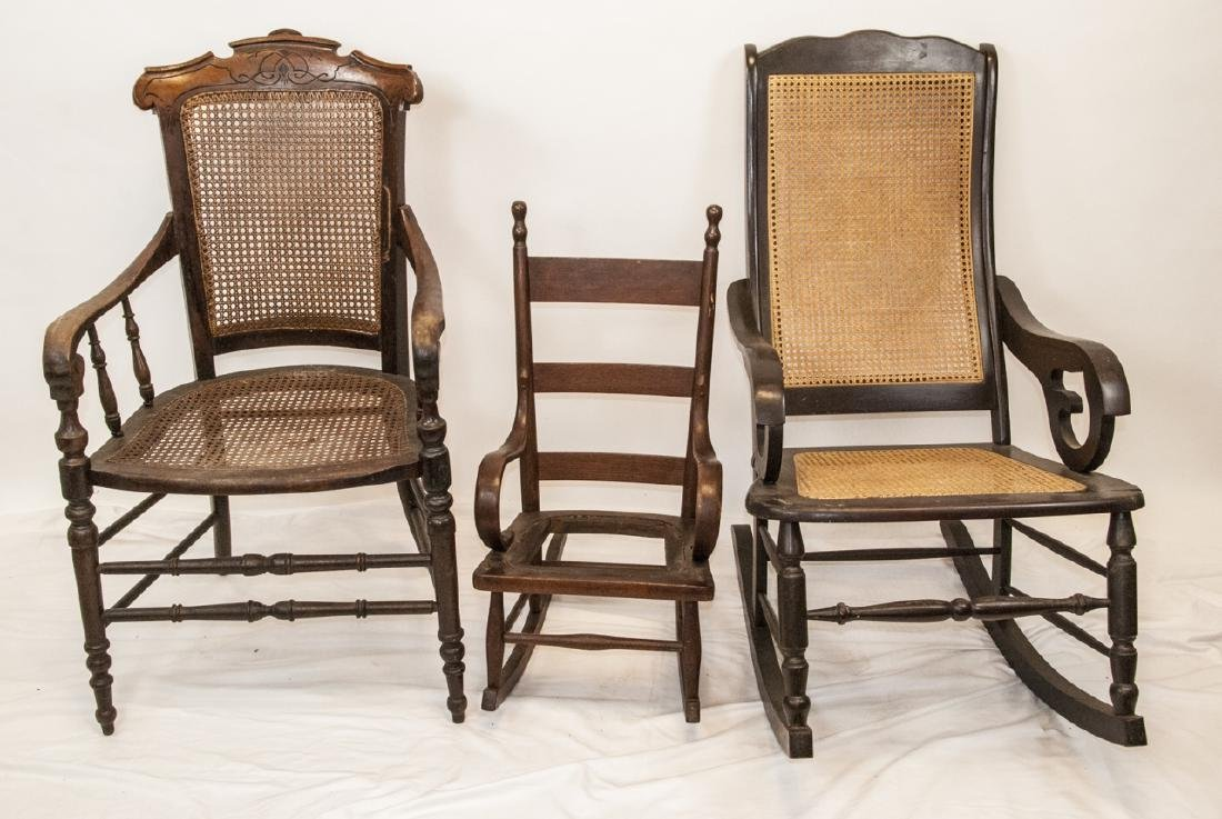 Antique Bentwood Rockers & Eastlake Chairs, Rattan