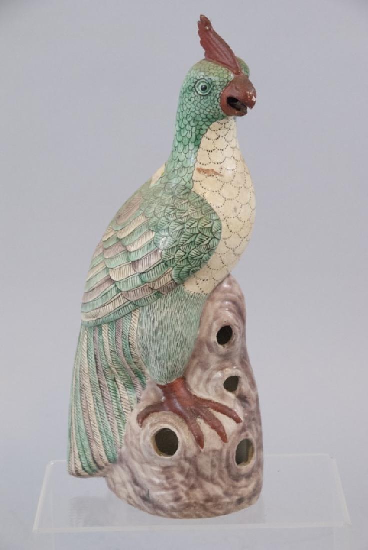 Antique Chinese Enameled Porcelain Parrot