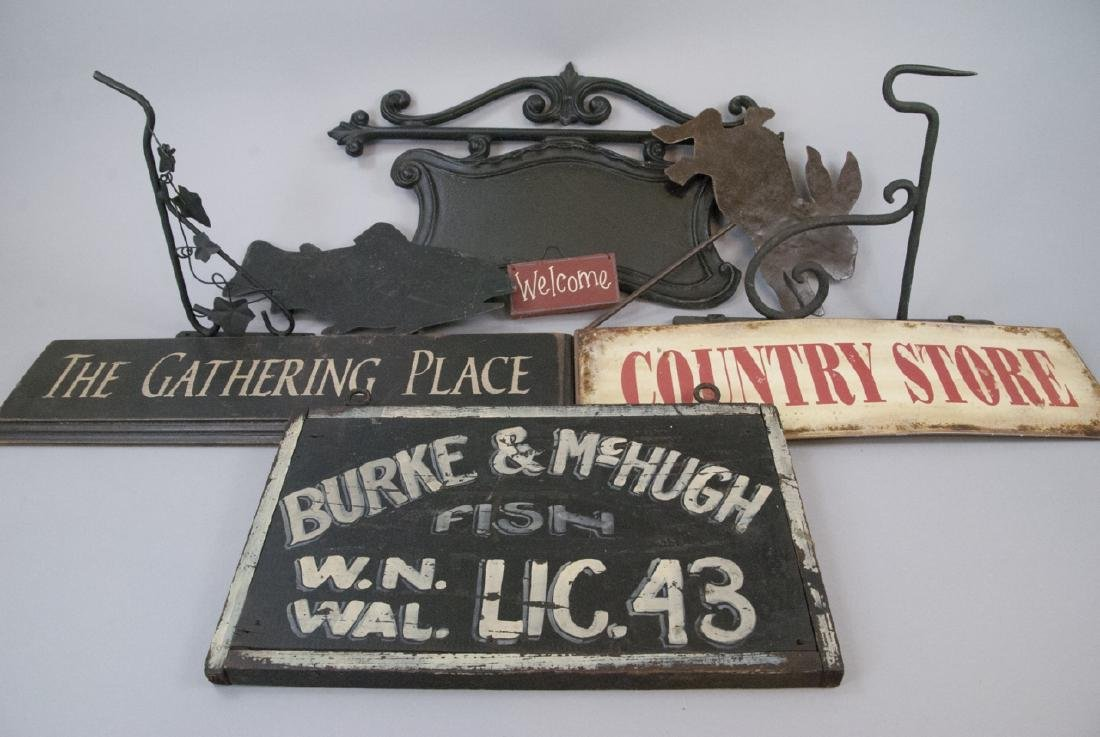 Lot Vintage Signs, Sign Hanging  Accessories