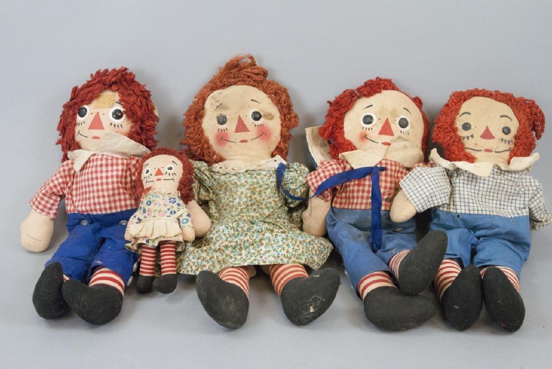 Lot Vintage Raggedy Ann & Andy Dolls