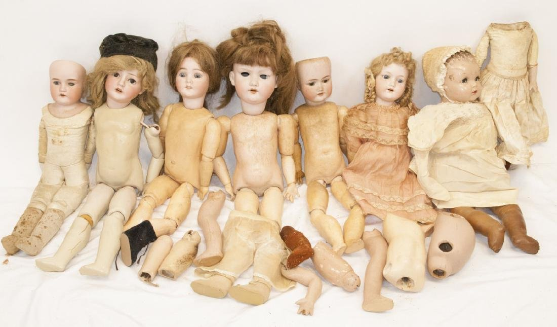 Lot  Antique Large Doll & Doll Parts