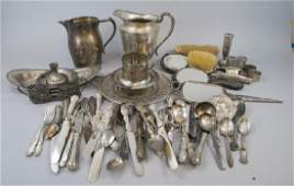 Lot Mixed Silver Plate  Mixed Metal Antique Items