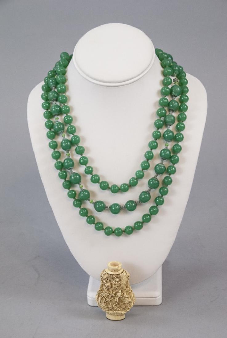 Chrysoprase & Peking Glass Vintage Jade Necklaces