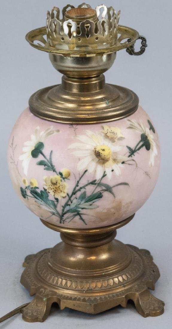 Antique Hand Painted Pink Porcelain Table Lamp