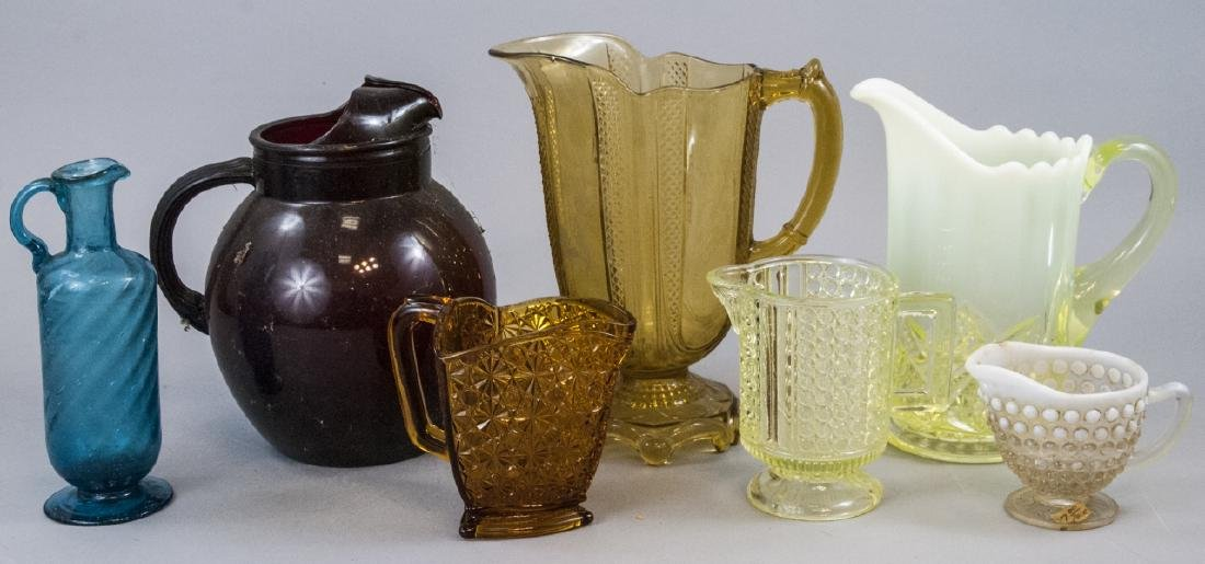 Assorted Lot Of Vintage & Antique Glass Pitchers
