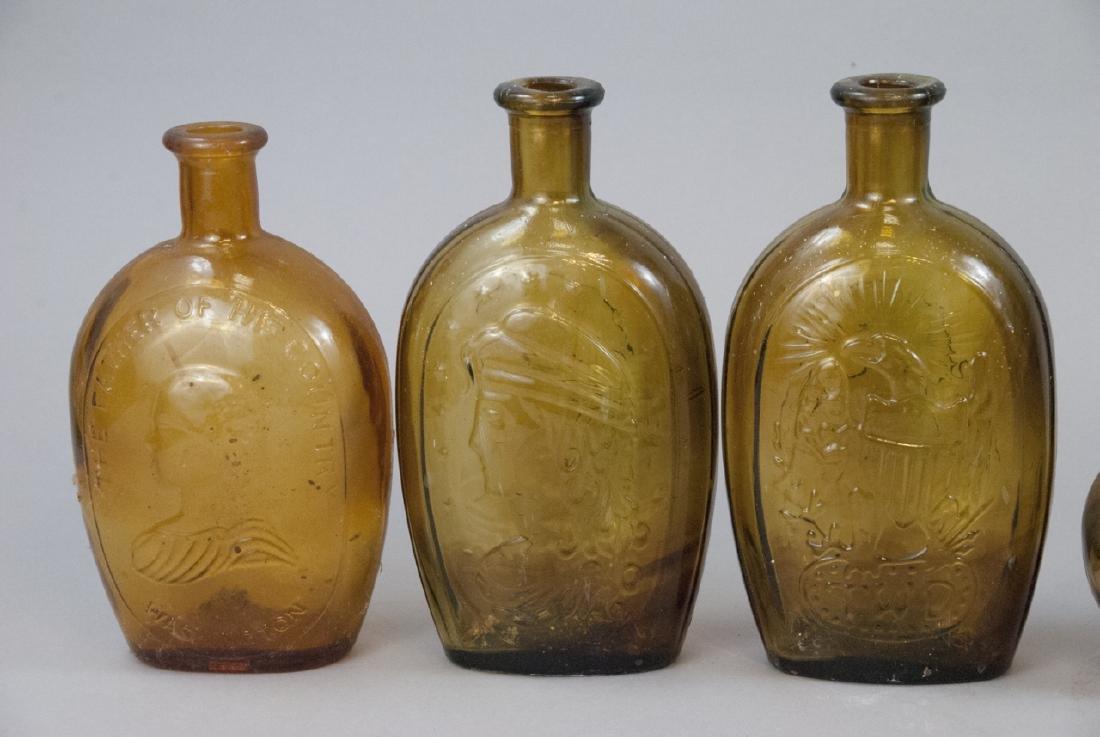 Lot Of Antique & Vintage Amber Glass Bottles