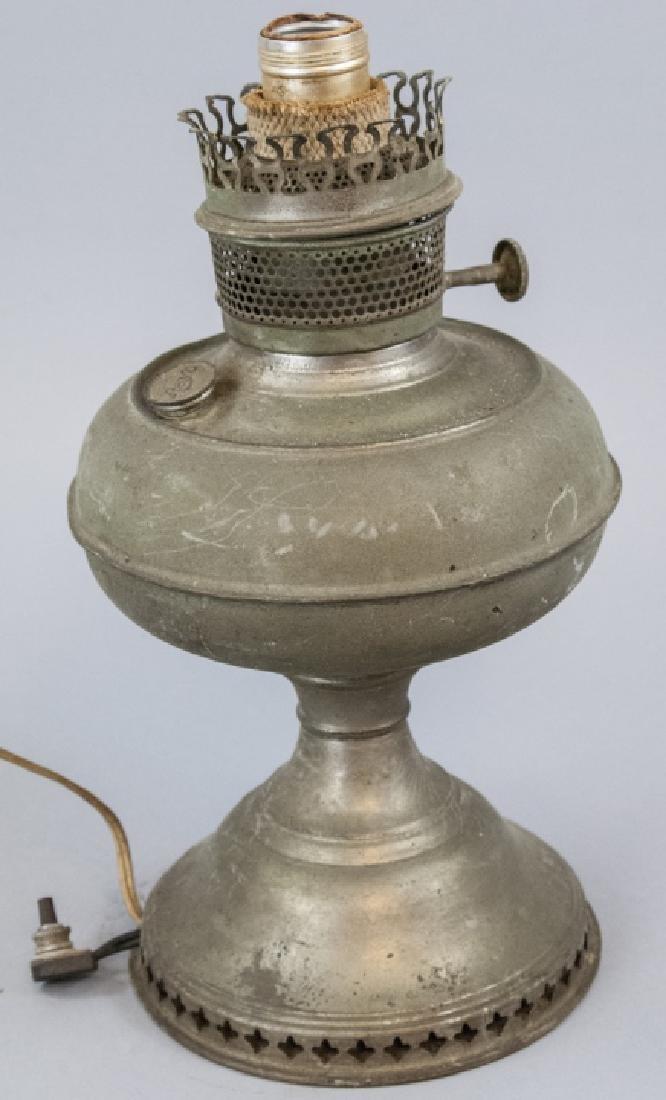 Antique Brass Converted Kerosene Table Lamp