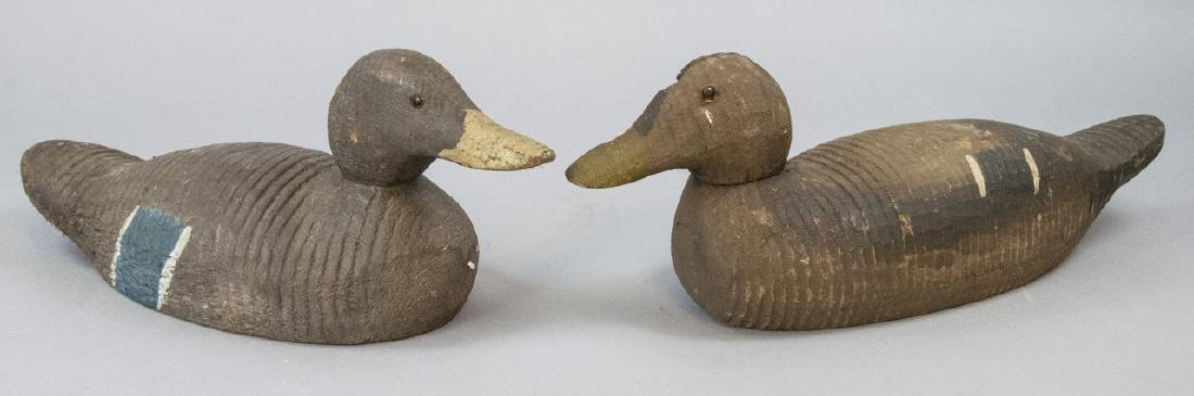 Pair Of Antique Wooden Mallards Decoys