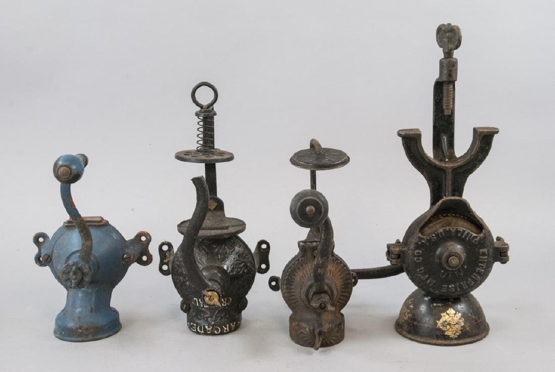 Antique Cast Iron Coffee, Salt, Meat Grinders.