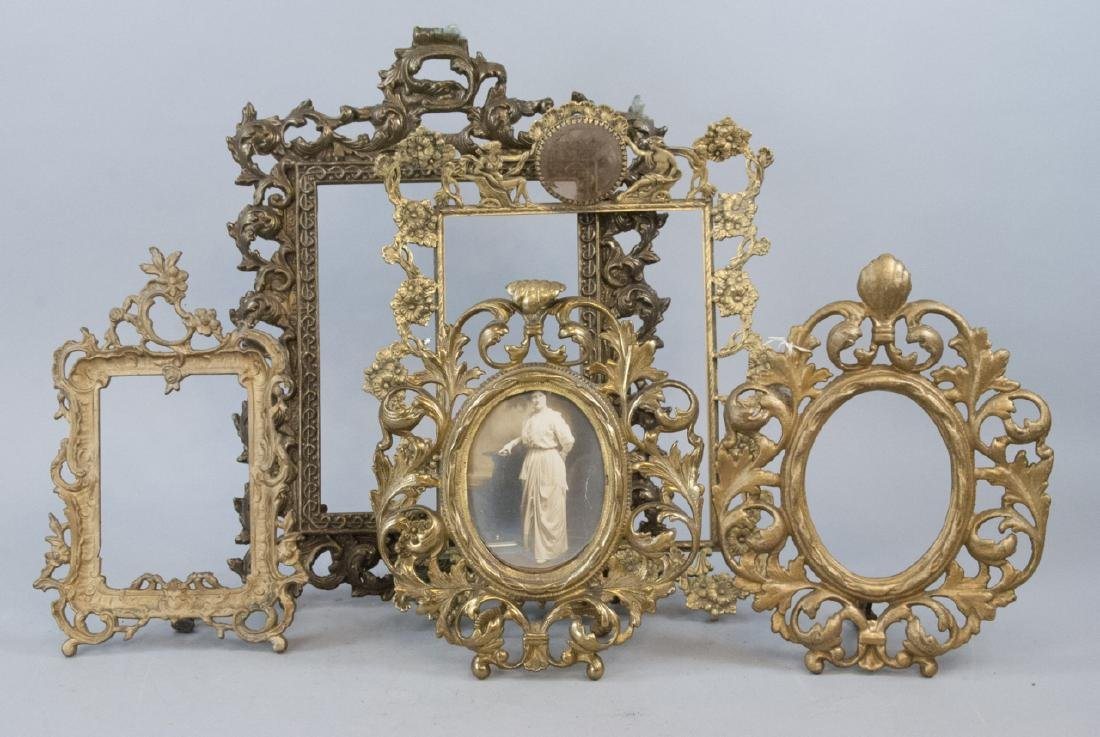 5 Antique Baroque Rococo Bronze Picture Frames