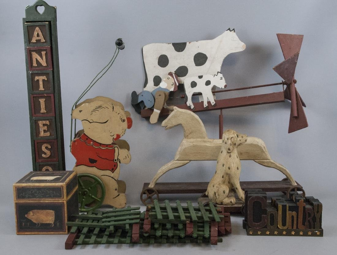 Lot Of Vintage & Antique Wooden Toys & Decorations
