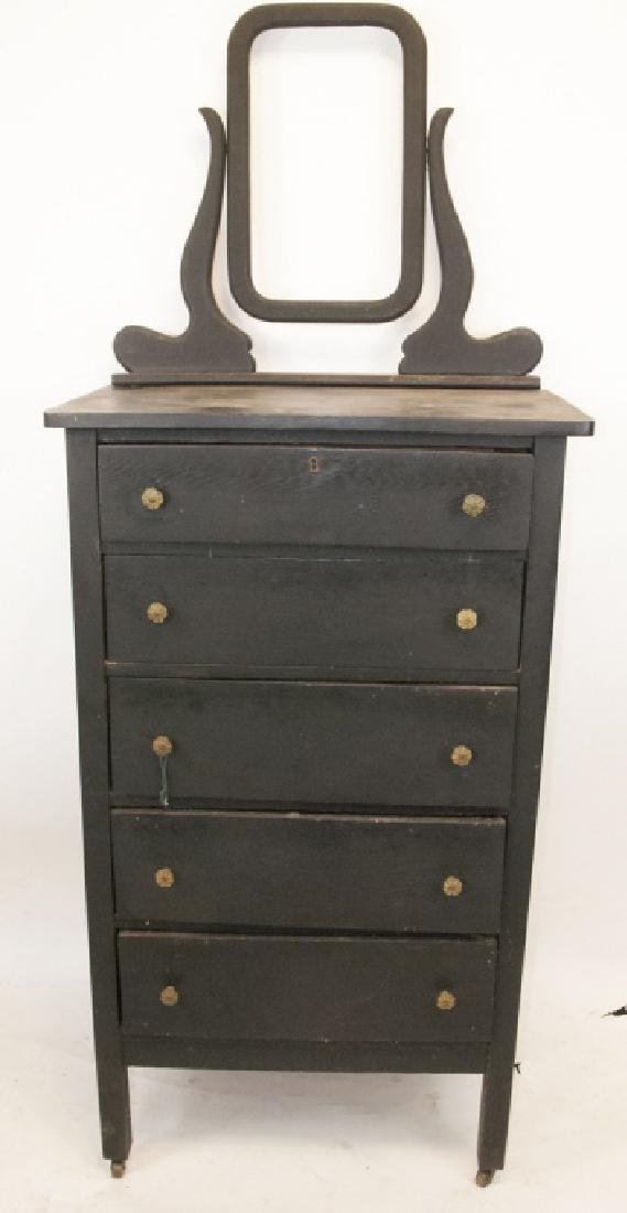 Antique Pine Bureau & Mounting Mirror Stand