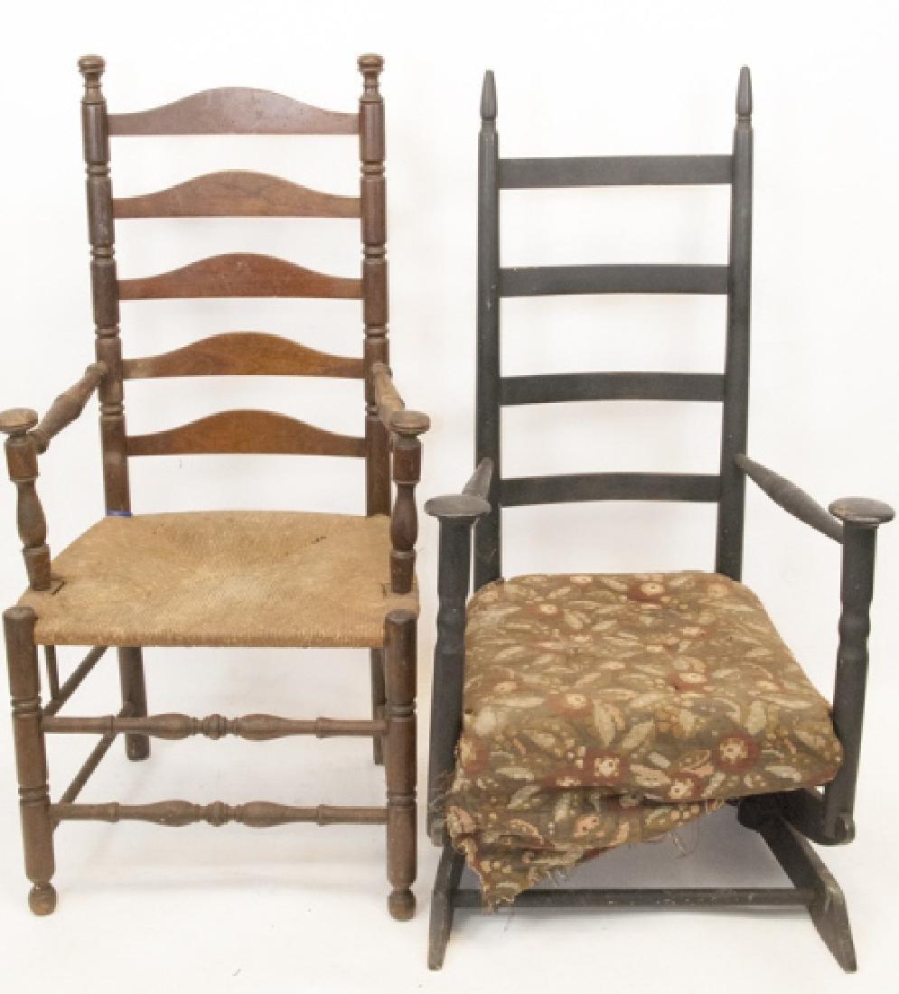 Antique Ladder Back Glider & Arm Chair