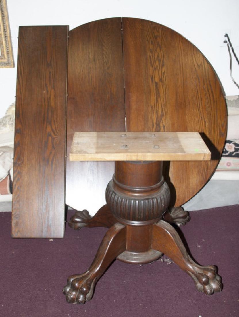 Antique Round Lion's Claw Leg Oak Table W/ Leafs