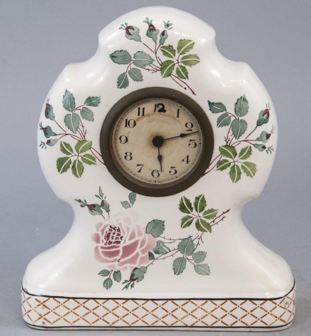 Antique German Porcelain Mantle Clock