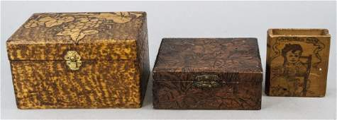 Three Vintage  Antique Hand Carved Wooden Boxes