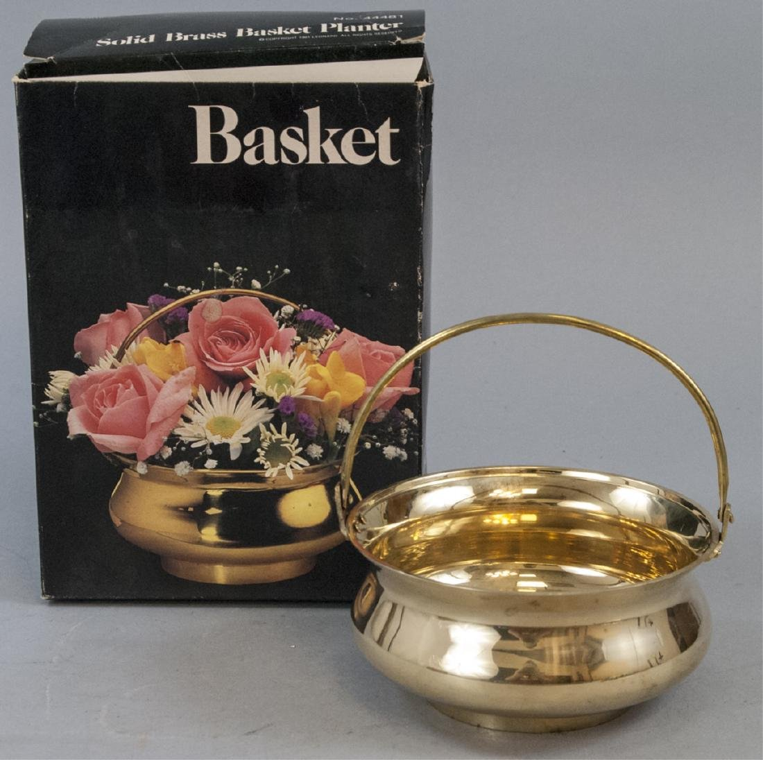 Vintage Leonard Solid Brass Basket Planter