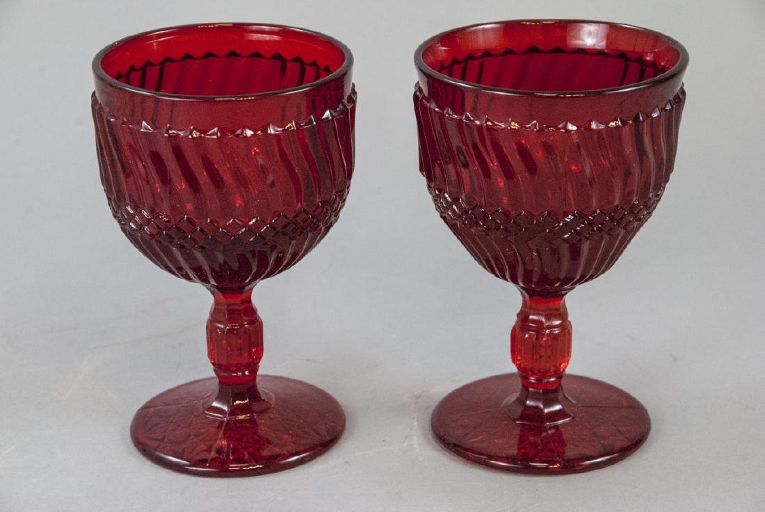 Pair Of Red Crystal Thick Wine Glasses