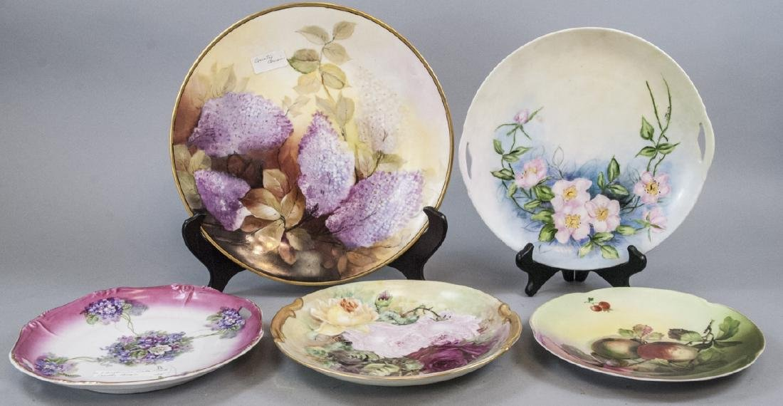 Lot Of Antique Victorian Hand Painted Plates