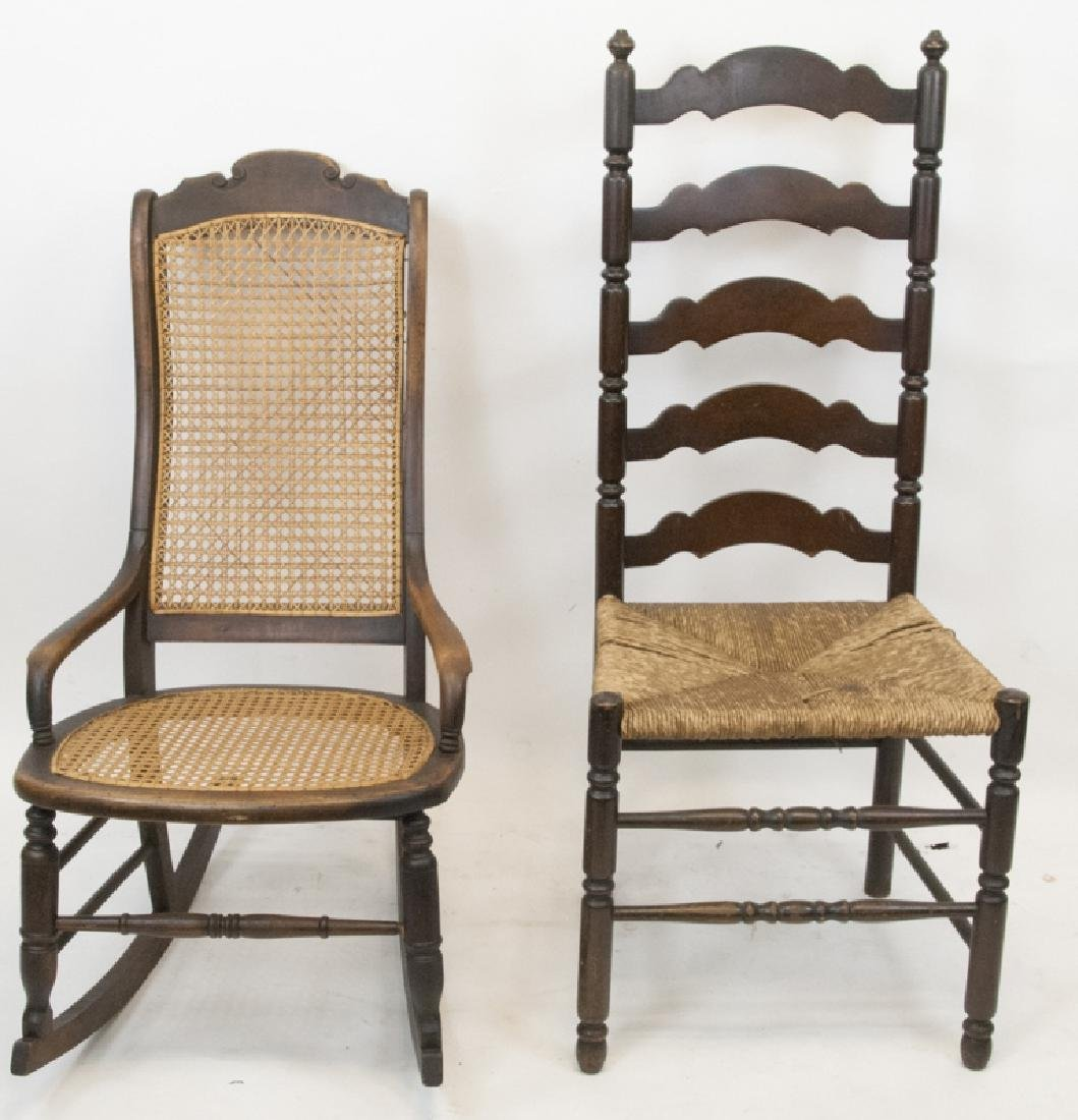 Antique Ladder Back & Caned Rocking Chair