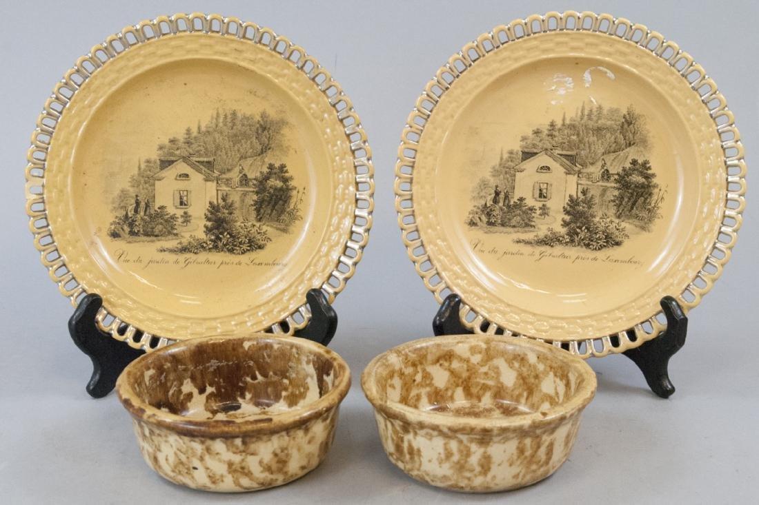 Antique & Vintage Yellow Plates Sponge Ware Bowls