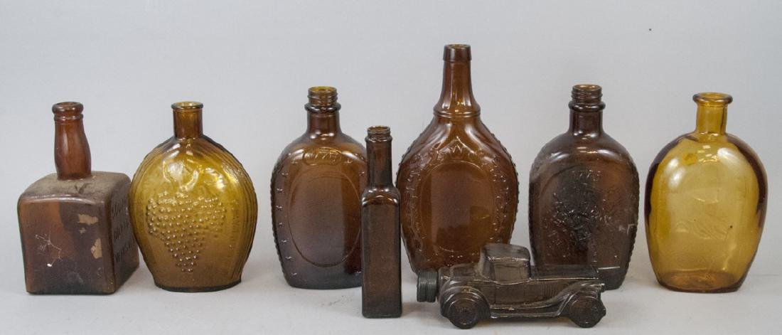 Assorted Lot Of Antique Amber Glass Bottles