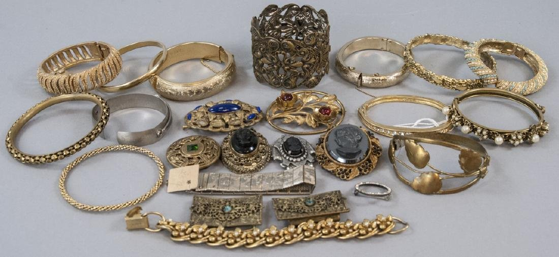 Assorted Vintage Costume Jewelry Bracelets & Pins
