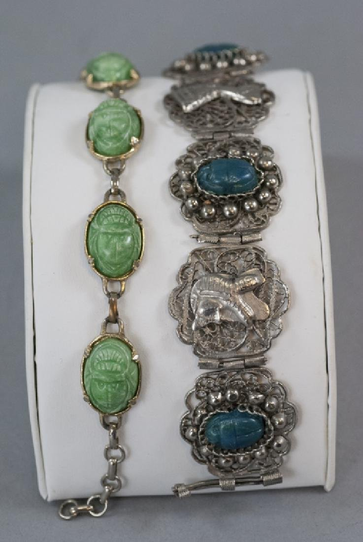 Two Egyptian Revival Scarab Mounted Bracelets