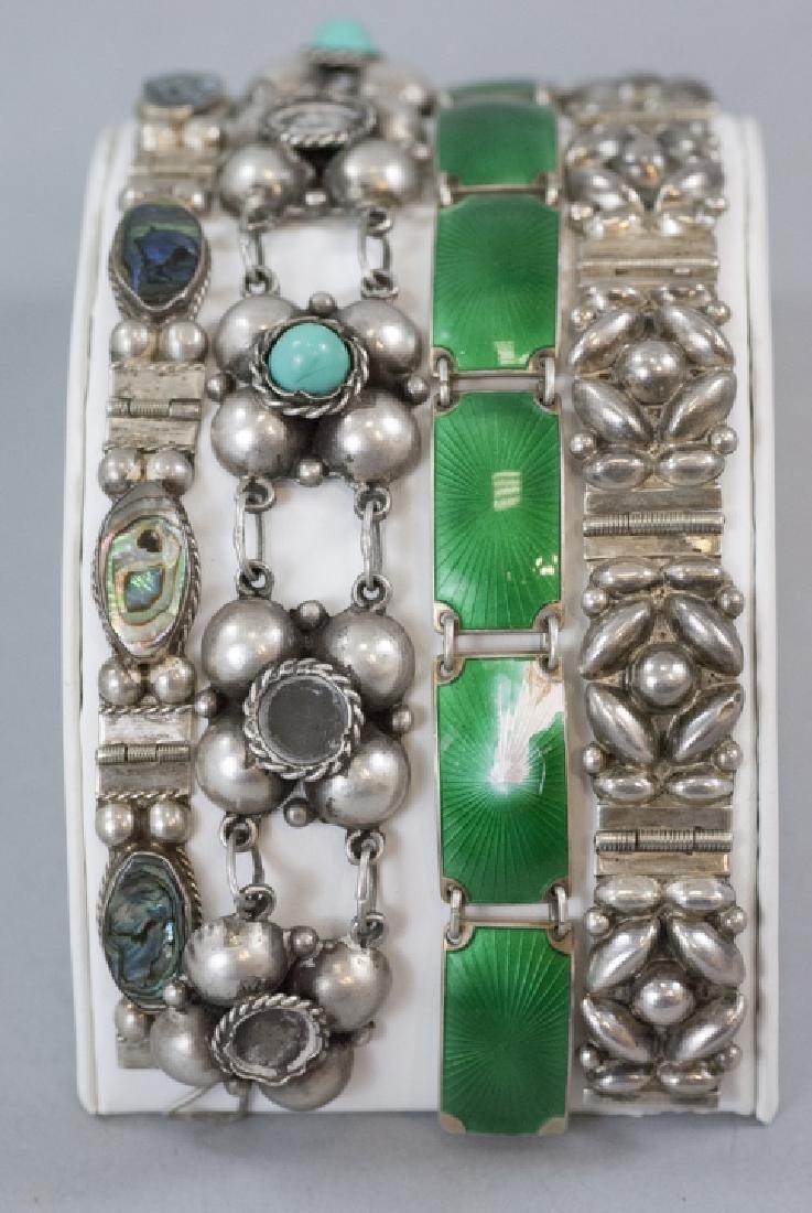 Four Vintage Sterling & Silver Panel Bracelets