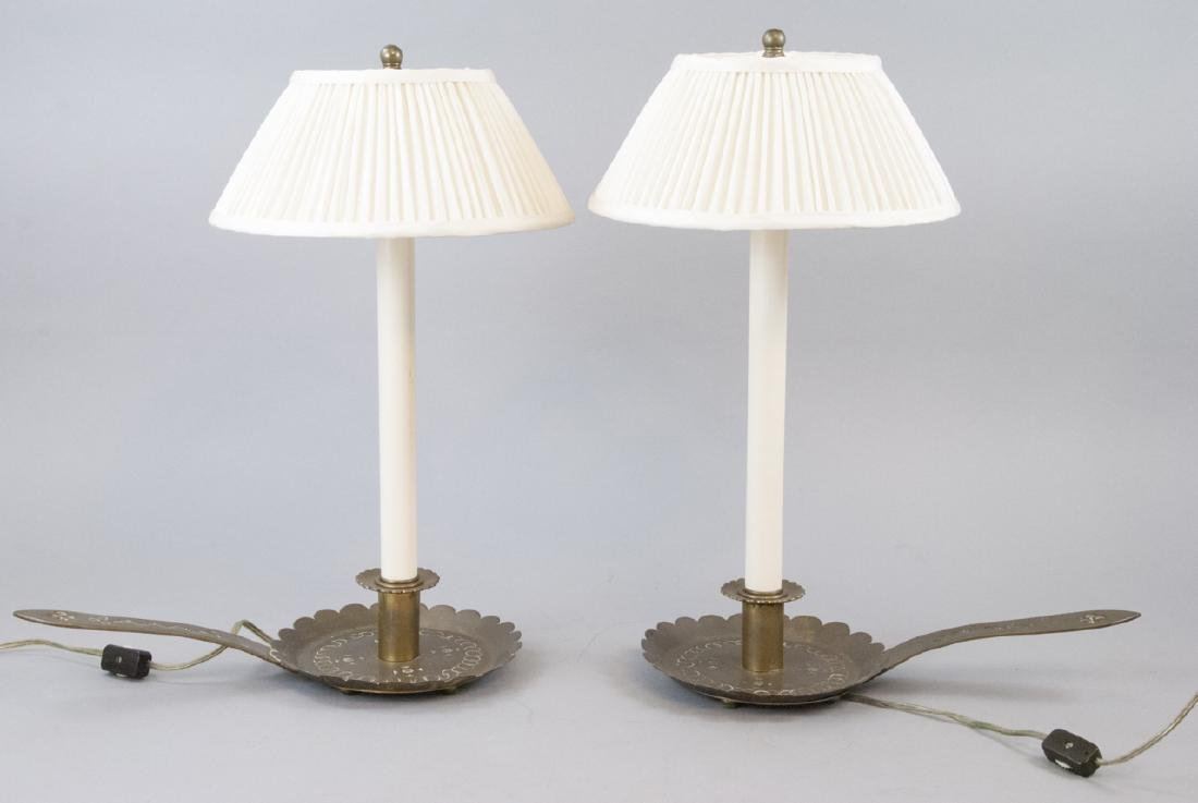 Pair Antique Chased Metal Candlestick Mount Lamps
